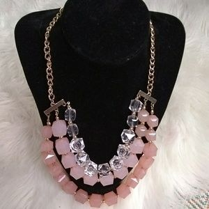 Tiered beaded pink & clear necklace gold links